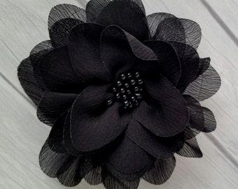"4"" Black Chiffon Flower with Beaded Center- Hair Flower"