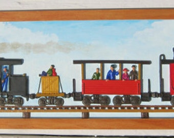 Train Picture Hobo  Red Hat Society Locomotive Excursion Car Caboose People Original Bas Relief Painting