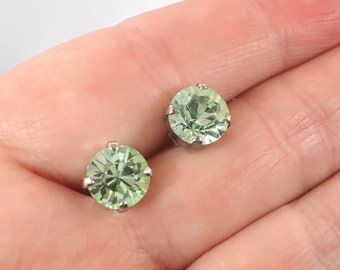 Green Earrings, Crystal Earrings, Vintage Earrings, Pierced Posts, Stud Earrings, Large, Silver, Peridot Green, Vintage Jewelry, Rhinestone