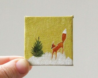 tiny forest  / MINIATURE painting on canvas panel