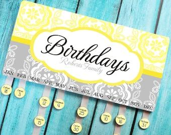 Personalized BIRTHDAY BOARD Yellow and Gray Medallion Family Birthdays Teacher Classroom Birthday Organizer Grandparent Gift BB0004