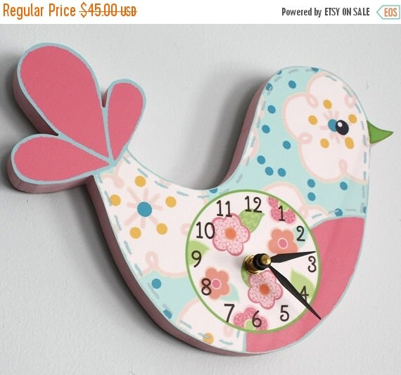 THANK YOU SALE Love Bird Wooden Wall Clock for Girls Bedroom Baby Nursery Wc0002