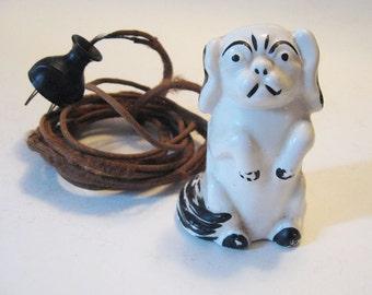 Vintage Alec Tri Pup Pekingese Dog Electric Extension Cord 3 Plug Outlet