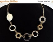 50% OFF CLEARANCE Vintage style, Circles Necklace, Buttons, Rhinestones, and Charm