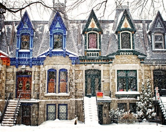 Large Art Montreal Print Architecture Art Gifts Photography Landscape Victorian Square Saint-Louis Print - The Enchanting WInter