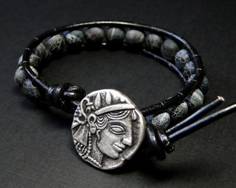 Leather Wrap Bracelet, Black Dragon Skin Agate Bracelet with Roman Coin Button - Medusa by CircesHouse on Etsy