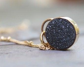 Druzy Necklace, Black Druzy Necklace, Gold Necklace