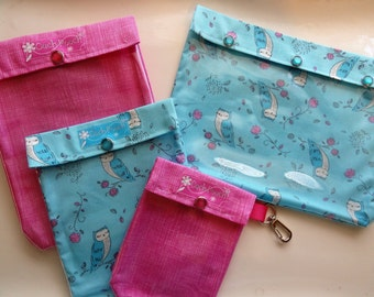 SALE Aqua Owls & Pink Plaid Ouch Pouch Travel Set 4 Pack Clear Pocket Organizers First Aid Medications Cosmetics Diaper Bag Inserts