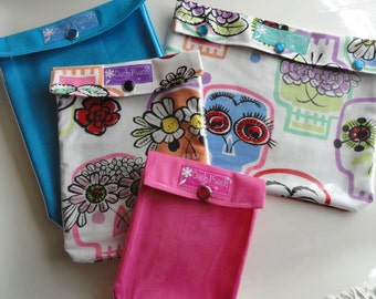 Clearance Sale Ouch Pouch Set 4 Sizes Clear Pocket Travel Bags Organize First Aid Baby Diapers/Wipes Meds Cosmetics (Flower Skulls)