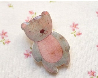 Teddy Bear brooch - Pink bear brooch - Cute brooch - Cute gift - Woodland animals - Cute animals brooch (BH008)