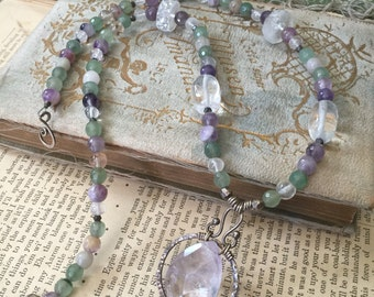 Soft Gentle Spring Sterling Silver Gemstone Necklace