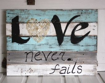 Love Never Fails Wood Sign- Pallet Sign- Button Heart- Blue and White- Cottage Chic Love Sign