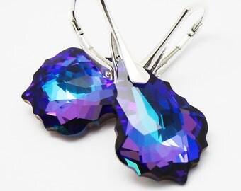 Purple Earrings,Cobalt Navy Violet Crystal,Baroque 22 mm Heliotrope Swarovski Crystal,Sterling Gold Jewelry,Eggplant Bridal Jewelry