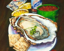 Oyster & Crystal-Raw Oyster, Seafood Art,Crystal Hot Sauce, Louisiana Seafood, Oysters, New Orleans Art, Louisiana Art by New Orleans Artist