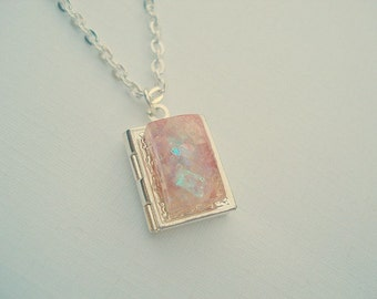 Pink Opal Necklace, Mini Book Locket, Silver book locket, Opal Necklace, Tiny Opal Locket, Opal Jewelry