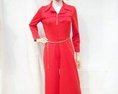 70s Red Wide Leg Jumpsuit size Small Sears Fashions