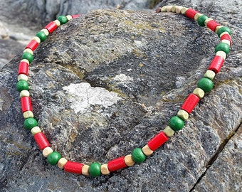 Red and Green Wooden Beaded Surf Style Necklace