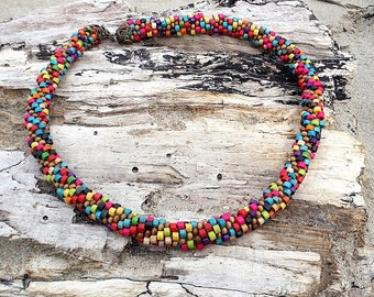 Wooden Bead Multi-Colored Necklace