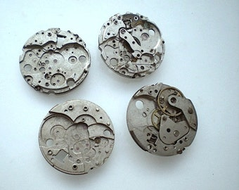 Vintage steampunk watch parts, 4 watch back plates (L24)