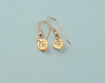 Tiny gold leaf earrings 14k gold filled minimalist