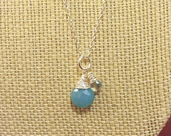 Faceted Blue Chalcedony and Aquamarine Teardrop Necklace on Sterling Silver
