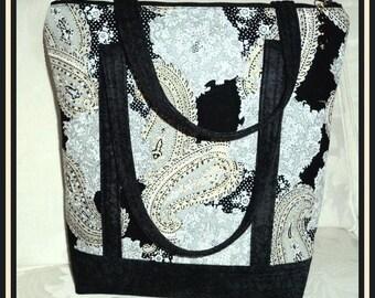 My Handbags - Black, Grey and Gold Large Paisley - Pockets, Zipper