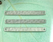 10 silver textured BAR jewelry pendant or earring drops. 41mm x 4mm (S49S).