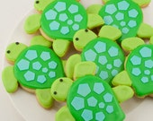 Sea Turtle Cookies, Sea Party - 12 Decorated Sugar Cookie Favors
