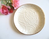 Trinket dish, ring holder, jewelry bowl, Rose Flower Embossed with Gold Edge, In Stock