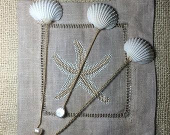 Mermaids Seashell Spoons - 3 Seashell and Pearl Spoons
