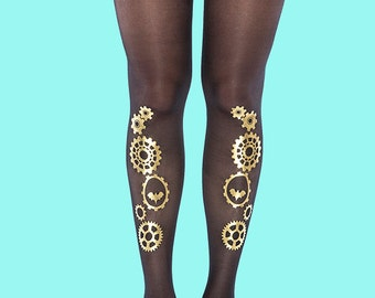 Women's tights Steampunk gold, available in S-M, L-XL, gift ideas