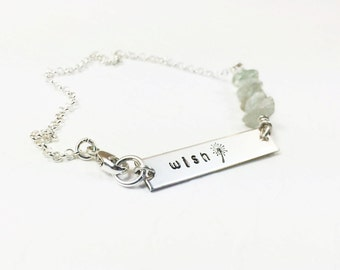 Inspirational Word Bracelet - Inspirational Word Jewelry - Wish Bracelet - Inspirational Wish Gift - Gemstone Choice - Hand Stamped Bracelet