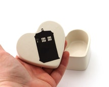 Doctor Who Tardis, heart box,ships immediately, trinket or jewelry box, ring holder, gifts under 15, proposal, engagement ring