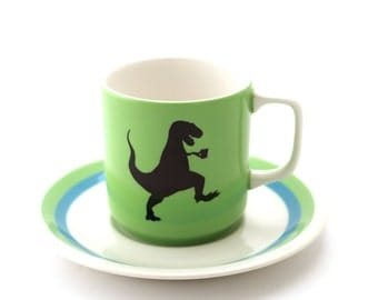 tea-rex cup and saucer - vintage tea cup and saucer - upcycled iron stone - gift for tea lover 8 oz