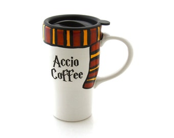 Harry Potter travel Mug, Accio Coffee with gryffindor scarf, ceramic travel mug with lid, Hogwarts scarf, harry potter fan