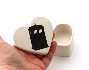 Doctor Who Tardis Valentine's Day gift, heart box,ships immediately, trinket or jewelry box, ring holder, gifts under 15