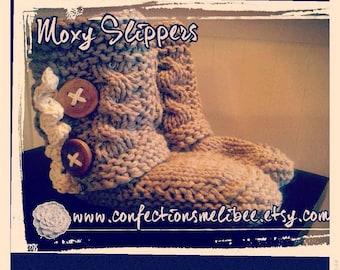 Boot Slipper knitting pattern/ Woman's slipper- pdf download * Moxy Slippers - patron au tricot (pdf)