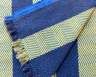 Large Vintage Cotton Jacquard Beach Blanket / Picnic Blanket - Acid Yellow & Cobalt Yves Klein Blue Fringed 1950s 1960s India Cotton Woven