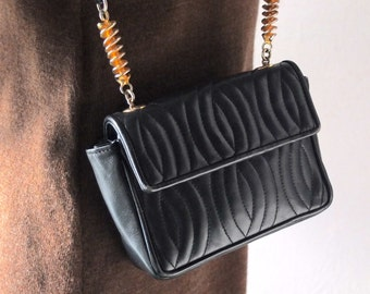 Vintage FENDI Mini Purse - 80s Quilted Black Leather iPhone Size Pochette w/ Gold Rotini Pasta Shaped Hardware - Small Leather Shoulder Bag