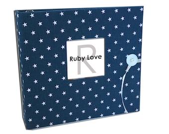 BABY BOOK | Mini Navy Star Baby Book | Ruby Love Modern Baby Memory Book
