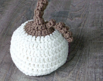 White Pumpkin Baby Hat, Crochet Pumpkin Hat, Baby Pumpkin Hat, Fall Baby Hat, Fall Photo Props, Pumpkin Baby Shower, First Thanksgiving