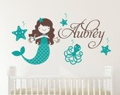 Starfish Mermaid Wall Decal Girls Name