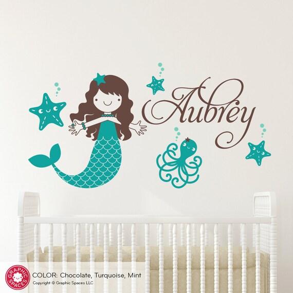 Starfish Mermaid Wall Decal Girls Name