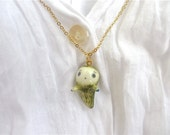 Tiny Ghost Pendant-moss reserved for Esther