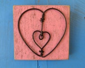 Wall Hanging Decorative Wire Heart On Pallet Wood