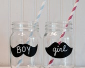 On SALE- 12 Lips and Mustache Chalkboard Vinyl Stickers, Gender Reveal Parties, Mason Jar Chalkboard Labels, Baby Shower Favors