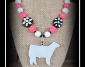 Charolais Glass Cattle Pendant With Beaded Necklace