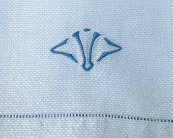 Blue Linen Towel Huck Cloth Monogram V