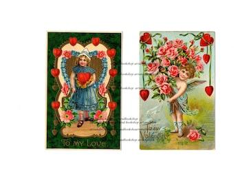 Valentines day digital Download vintage postcards paper ephemera