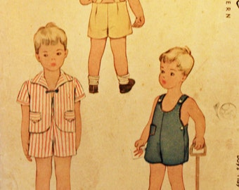 Vintage 1950s, Sewing Pattern, McCall's 5131, Toddler's Play Suit and Jacket, Toddler's Size 2